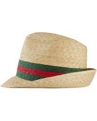 Gucci - Cappello fedora in paglia intrecciata - Lyst