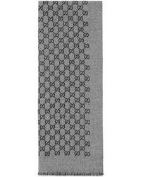 Gucci - Sciarpa in doppia lana jacquard con motivo GG - Lyst