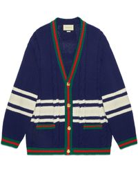 Gucci - Wool Cardigan With Patches - Lyst