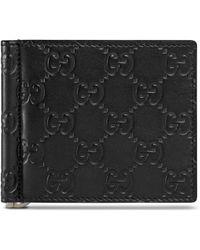 Gucci Brieftasche mit Geldscheinklammer und Leder Signature - Schwarz