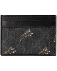 Gucci - GG Card Case With Tiger Print - Lyst