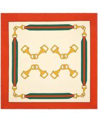 Gucci - Scarf With Interlocking G Stirrups Print - Lyst