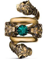 Gucci - Double Wrap Ring With Tiger Heads - Lyst