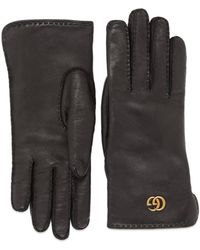 Gucci - Leather Gloves With Double G - Lyst