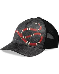 446af213898 Gucci Gg Supreme Baseball Hat With Angry Cat in Black for Men - Lyst
