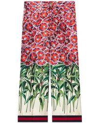 Gucci - Poppy Garden Silk Pajama Pant - Lyst