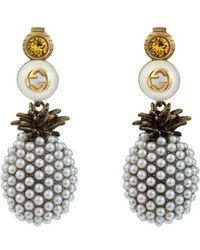 Gucci - Pineapple Earrings With Crystals - Lyst
