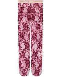 Gucci Strumpfhose aus Blumen-Spitze - Rot