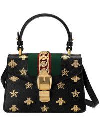 8778dd37e1 Gucci Black & White Queen Margaret Bee Bag in Black - Lyst