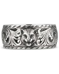 Gucci - Thin Silver Ring With Feline Head - Lyst