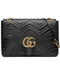 98bbabacc50e Lyst - Gucci GG Marmont Matelassé Leather Shoulder Bag in Black