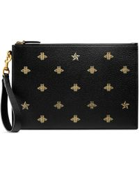 Gucci - Bee Star Leather Pouch - Lyst