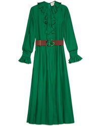 57deb58a5d9c7 Gucci - Silk Dress With Double G Belt - Lyst