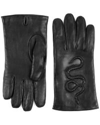 Gucci | Snake Embossed Leather Gloves | Lyst
