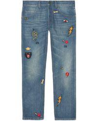 Gucci - Jean fuselé à détails brodés - Lyst