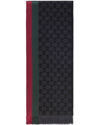 Gucci - Gg Jacquard Knit Scarf With Web And Fringe - Lyst