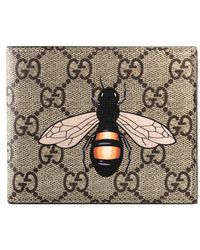Gucci - Bee Print Gg Supreme Wallet - Lyst