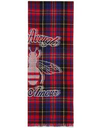 Gucci - Check Wool Scarf With Bee - Lyst