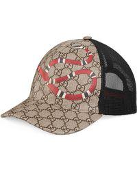 Gucci - Gorra de Béisbol GG Supreme con Estampado de Serpiente Real - Lyst