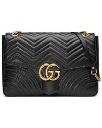 e9e9ca17b Gucci Marmont - GG Marmont Small Matelassé Shoulder Bag in Black - Lyst