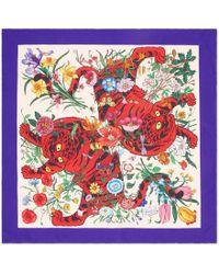 Gucci - Flora Tiger Print Silk Scarf - Lyst