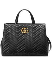 Gucci - Gg Marmont Matelassé Top Handle Bag - Lyst
