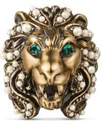 Gucci - Lion Head Ring With Crystals - Lyst