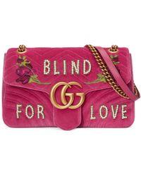 Gucci - Gg Marmont Medium Velvet Bag - Lyst