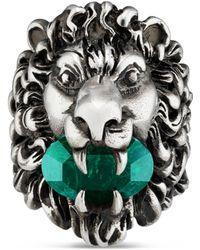 Gucci - Anillo con Cabeza de León con Cristal - Lyst