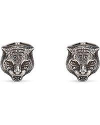 Gucci - Felinekopf-Manschettenknöpfe aus Silber - Lyst