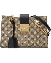 66f5d64c4691 Lyst - Gucci Padlock Small Studded Leather Shoulder Bag in Black