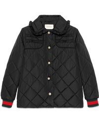 Gucci - Quilted Jacket With Web - Lyst