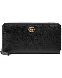 20e41973181 Gucci - Leather Zip Around Wallet - Lyst