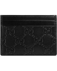 Gucci - Kartenetui aus Signature Leder - Lyst