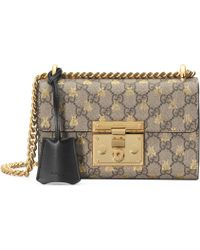 d720a9532be Gucci - Gold GG Bees Padlock Small Shoulder Bag - Lyst