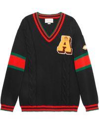 Lyst - Jersey de punto de ochos con parches Gucci de color Negro d3409c703c0