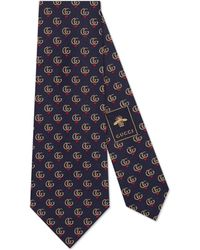 Gucci - Double G And Hearts Silk Tie - Lyst