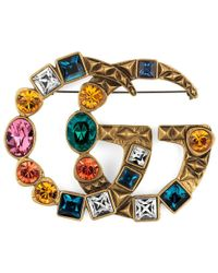 Gucci | Crystal Double G Brooch | Lyst