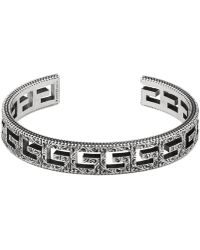 Lyst Gucci Chain Bracelet With Diamante Motif Engraved Tag In