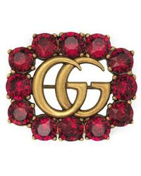 Gucci - Red Crystal Marmont Brooch - Lyst