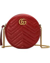 5001ba03418974 Gucci - GG Marmont Mini Round Shoulder Bag - Lyst