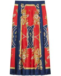 Gucci - Silk Skirt With Flowers And Tassels Print - Lyst