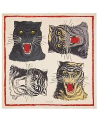 Gucci - Tiger Face Print Silk Scarf - Lyst