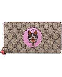 Gucci - Portefeuille zippé Suprême GG avec patch Bosco - Lyst