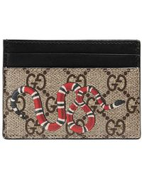 Gucci - Snake Print Gg Supreme Card Case - Lyst