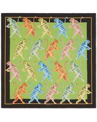 Gucci - Tigers Print Silk Scarf - Lyst