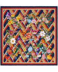 Gucci - Flora Snake Chevron Print Silk Scarf - Lyst
