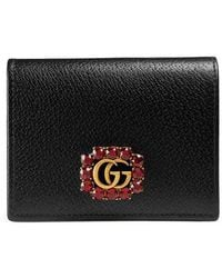 Gucci   Leather Card Case With Double G And Crystals   Lyst