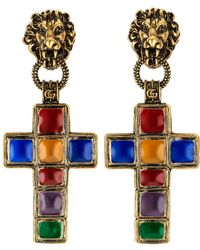 87fa3c617ed Gucci - Earrings With Cross Pendant And Lion - Lyst