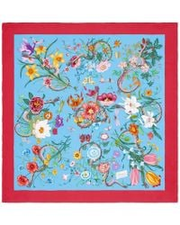Gucci - Floral Snake Print Scarf - Lyst